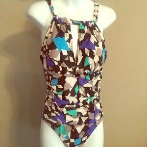 NEW Blue Asymmetrical One Piece Swimsuit Sz 8